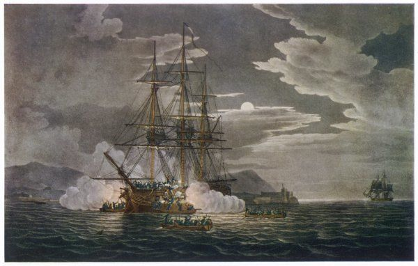 NAVAL ACTION OFF PUERTO CABELLO - the French frigate 'Hermione' is attacked by boats under the command of Captain Edward Hamilton