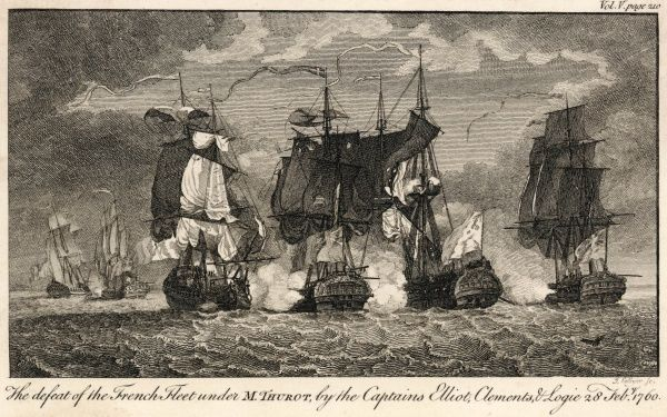 NAVAL BATTLE French fleet under Thurot defeated by three English captains