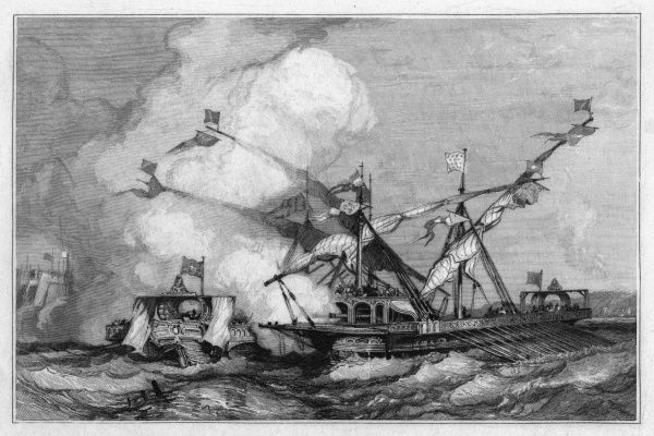 The contest between France and the Empire for Italy is conducted at sea as well as on land : at Genova (Genoa) the French win a duel of galleys with a Spanish vessel