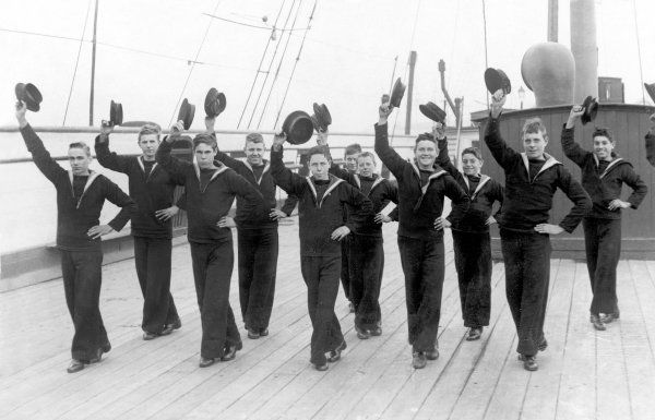 Naval cadets learning the Hornpipe onboard the HMS Arethusa, the cadet training ship