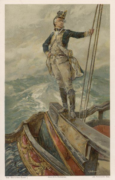 A captain of the Royal Navy stands on the taffrail, on the poop deck of his vessel