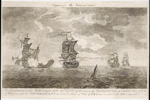 Naval combat : the British ship 'Monmouth' defeats the French man-of-war 'Foudroyant' off Cartagena, on the Mediterranean coast of Spain