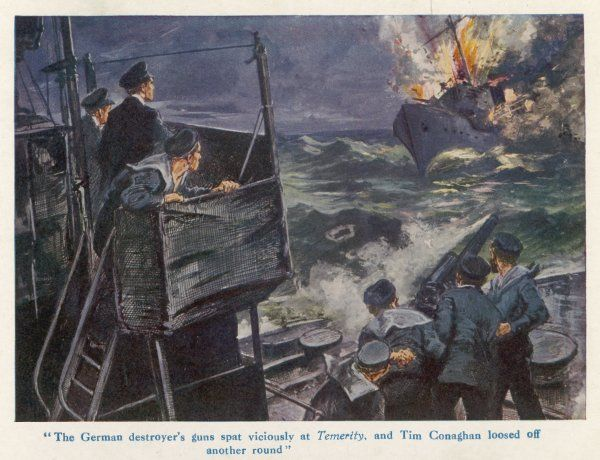 The British navy destroys a German destroyer - illustration to a fiction story based on real-life naval events