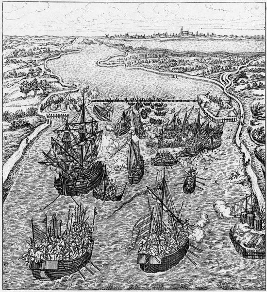 Action on the Dutch coast - a Spanish fleet approaches the port of Middelburg but is foiled by the defences erected by the inhabitants, blocking its passage