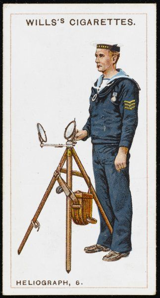 A sailor of the Royal Navy operating the heliograph