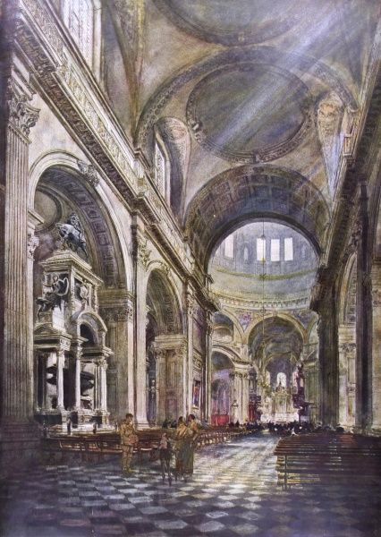 Painting showing the interior of the nave of St. Paul's Cathedral, London, 1918