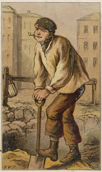 A navvy works in an urban street