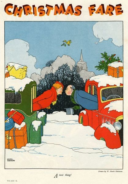 Humorous illustration showing two cars laden with trunks and Christmas parcels stuck in the snow while their two drivers pucker up for a kiss underneath some mistletoe