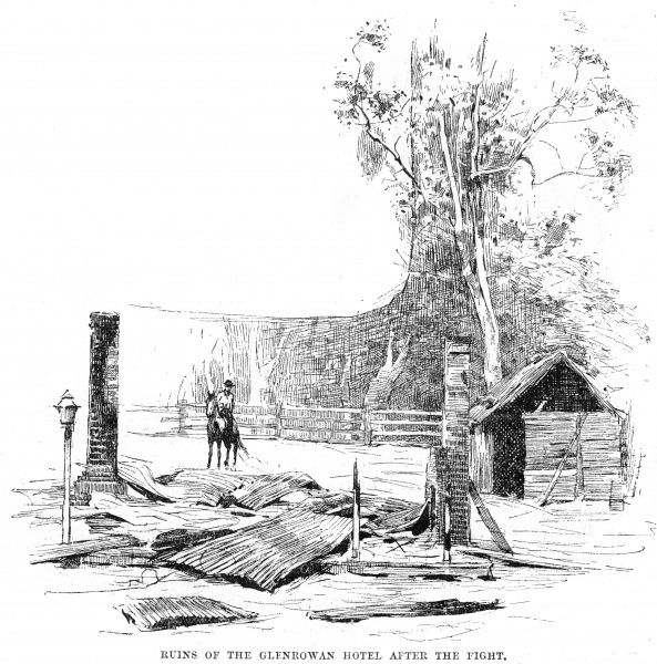 The ruins of the hotel in Glenrowan after the siege