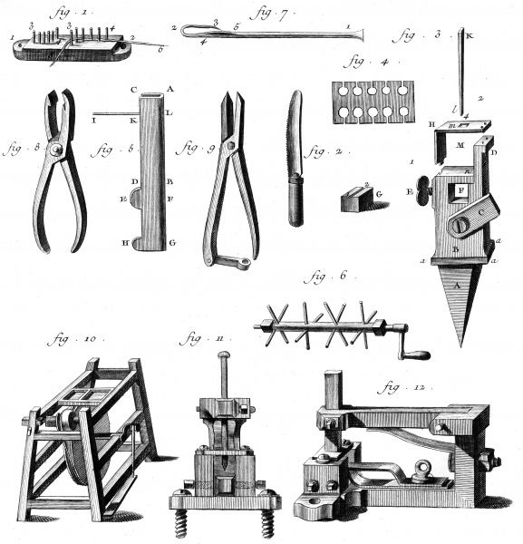 Various tools and machines used to make needles in 18th century France. Date: Circa 1760