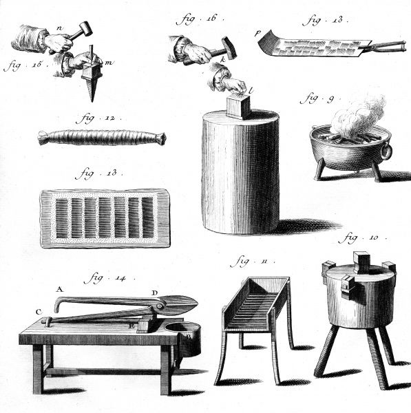 Various tools used to make needles in 18th century France. Date: Circa 1760