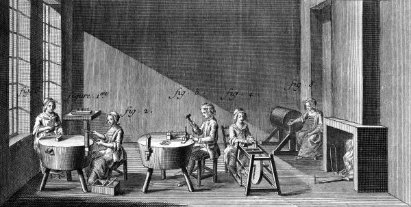 Four women and a man making needles in a workshop in 18th century France. Date: Circa 1760
