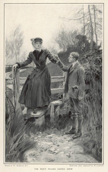 A polite country gentleman helps a lady to negotiate a stile