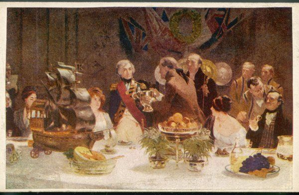 HORATIO, LORD NELSON the well-known sailor is honoured at a banquet - the artist Benjamin West offers him a drink