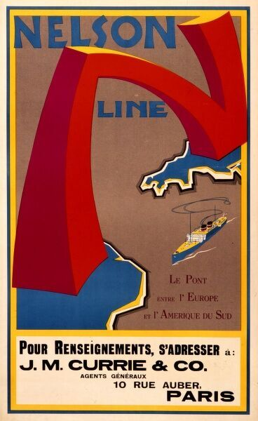Poster in French advertising the Nelson Line and its Paris agents J.M. Currie & Co, a cargo shipping line which began in the 1880s and pioneered the carriage of refrigerated goods, including meat, from South America