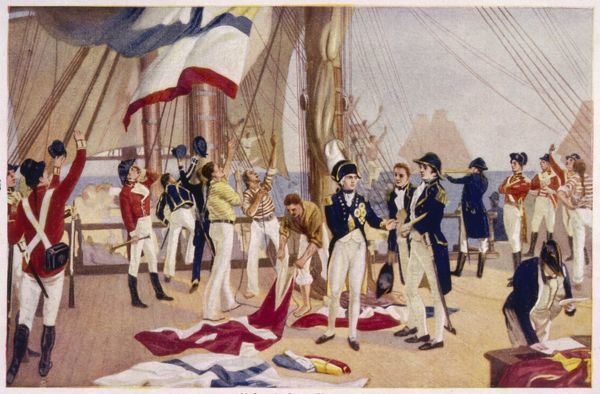 Before the battle, Nelson orders his famous signal : 'England expects every man to do his duty&#39