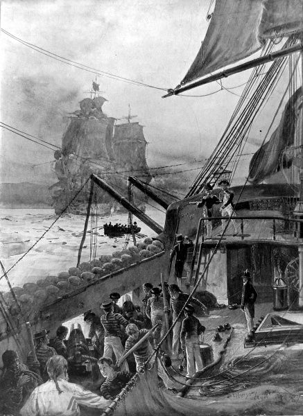 Captain Horatio Nelson ordering the 'Minerva' to slow under the guns of the Spaniards in order that Hardy might be saved