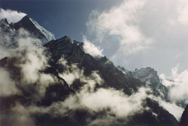 Clouds over Mount Machhapuchhre, in the Annapurna Range of the Himalayas