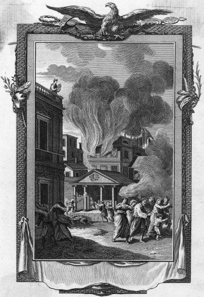 Fire rages in Rome for 9 days. Though Nero is not in Rome at the time, he is accused of starting the fire and playing the cithara while it rages ; he blames the Christians