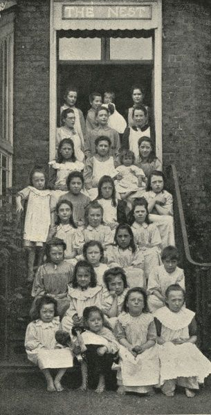 Inmates of The Nest, a home for sexually abused girls, opened by the Salvation Army in 1901 at Upper Clapton, north east London