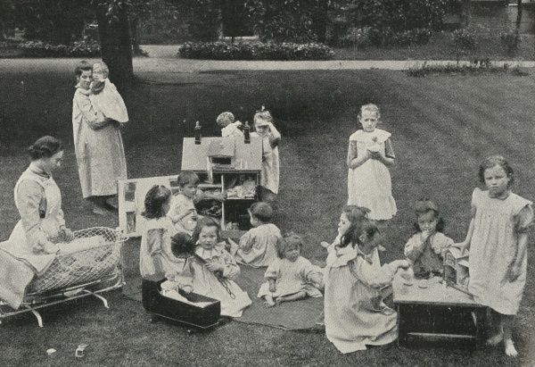 Inmates in the garden of The Nest, a home for sexually abused girls, opened by the Salvation Army in 1901 at Upper Clapton, north east London