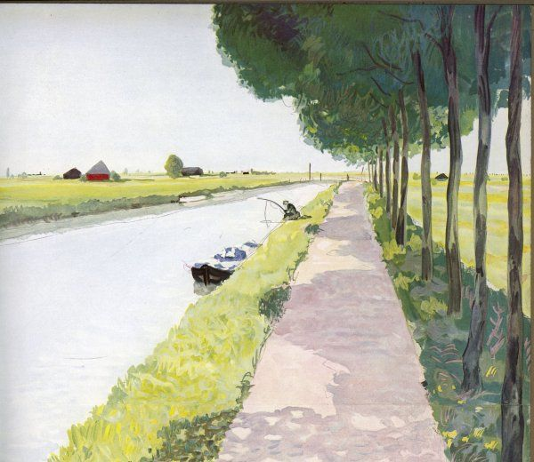 Dutch scenery: typical canal, with fisherman