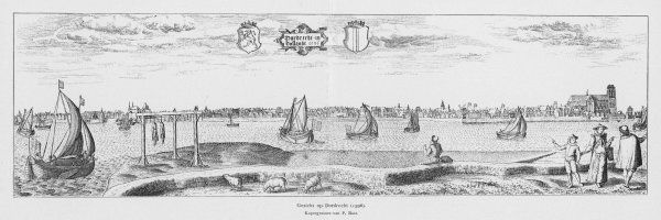 Dordrecht: showing the shipping, the town in the distance, a family group and the gallows or possibly a gibbet with two hanged felons left to rot