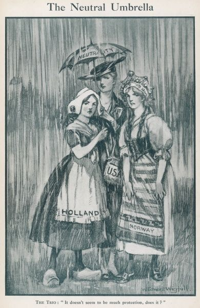 A small umbrella of neutrality offers little shelter to Holland, Norway and the USA who find they are all affected either by cutting of their trade routes, or by being inundated with refugees during World War One