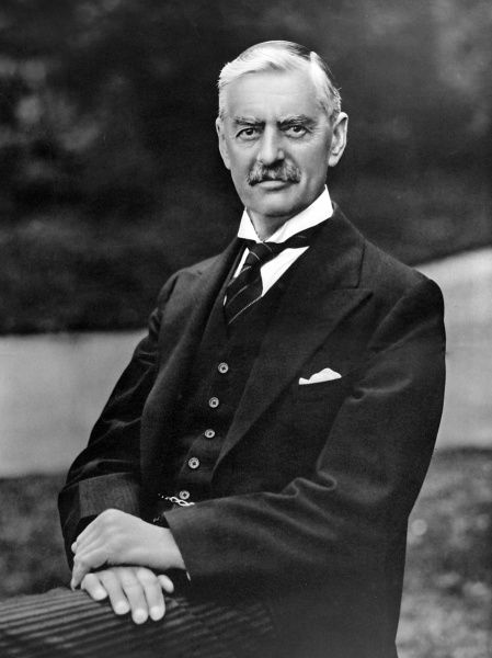 Portrait of (Arthur) Neville Chamberlain (1869-1940), British Prime Minister, photographed in 1938