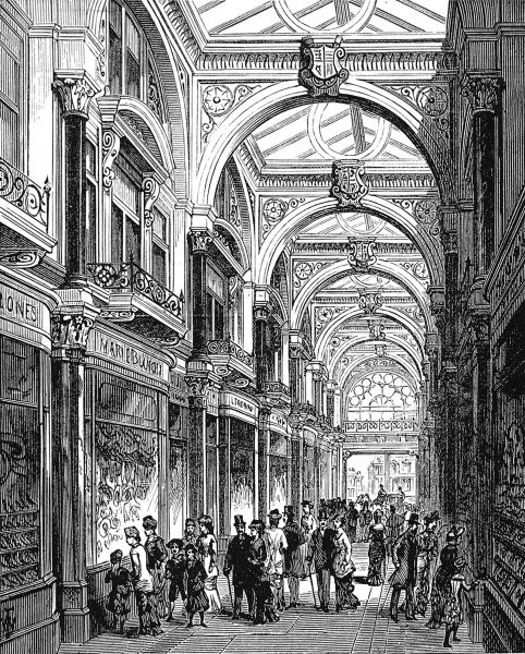 Engraving showing the New Arcade, Old Bond Street, London in 1880
