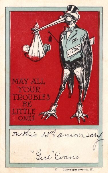 "A New Baby Greetings postcard, featuring Dr Stork, who has just delivered a little bundle of joy. ""May All Your Troubles Be Little Ones"" !!! Date: 1905"