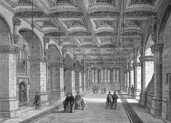 Engraving showing the ground floor of the City Museum, Guildhall, which was opened in November 1872