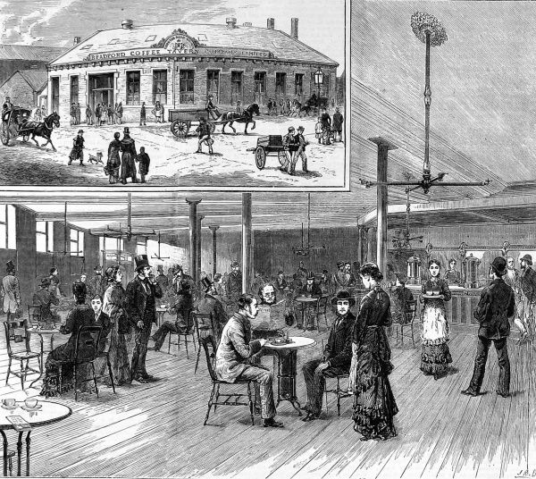 Interior and exterior views of the new coffee tavern in Bradford, inaugurated by W. E Forster, M.P in 1879. The Coffee Tavern movement was a Victorian effort to get people out of pubs. Proposed by the Bradford councillor, alderman and magistrate