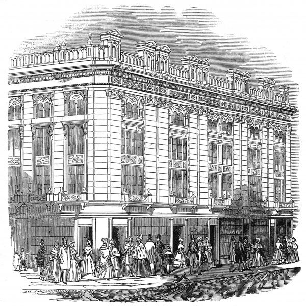 Engraving showing New Coventry Street, London, in 1845 after a number of improvements had taken place in the area
