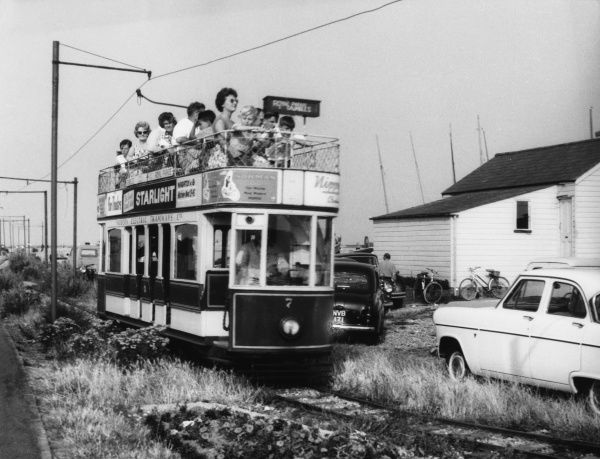 One of the beautiful new double-decker trams, built to a gauge of only 15 inches, which run from Eastbourne along the Crumbles, Sussex, England