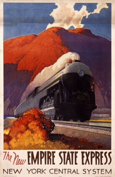 Poster advertising the Empire State Express steam train of the New York Central System as it speeds across the American landscape