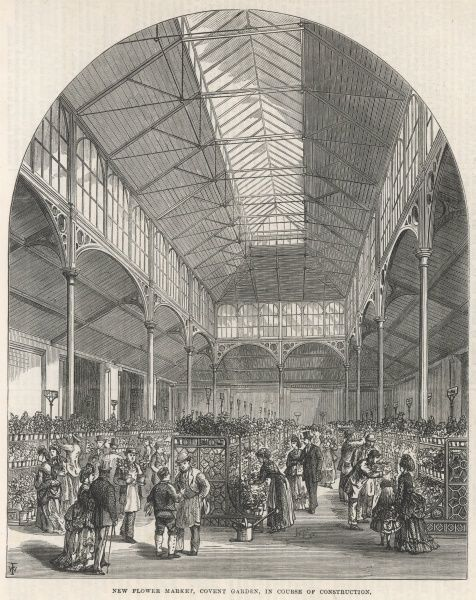 Engraving showing the interior of the new flower market in Covent Garden, London, which was still being built in 1872
