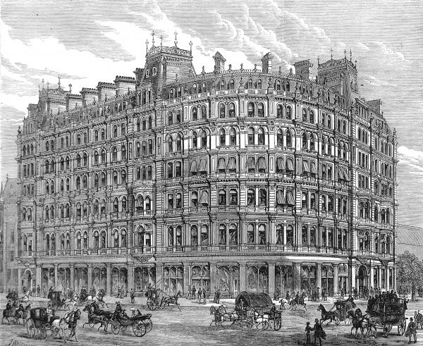 Engraving showing the New Grand Hotel, Charing Cross, London, 1880. This hotel was built on the site of Northumberland House