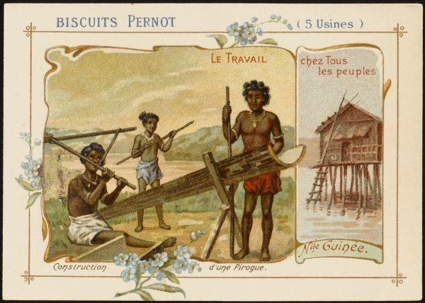 New Guinea. - Constructing a pirogue, a small boat sometimes with a sail, sometimes not