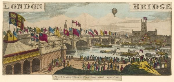 The opening of new London Bridge - barges on the Thames, crowds on the shore, flags flying and a balloon over Southwark cathedral