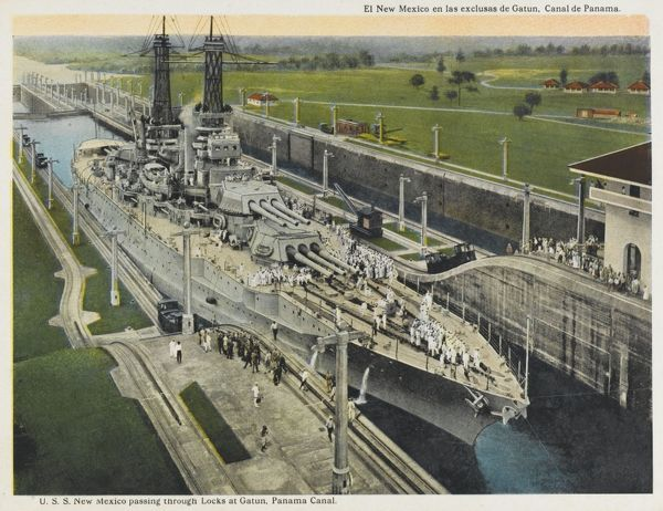 American warship depicted passing through one of the locks of the Panama Canal. Date: circa 1915