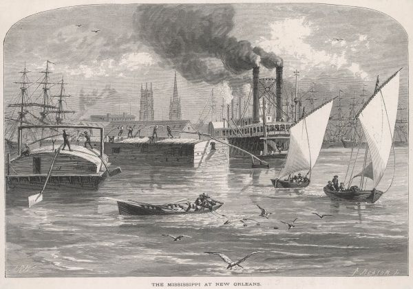 Paddle-Steamers and small sailing craft occupy a busy stretch of the Mississippi at New Orleans