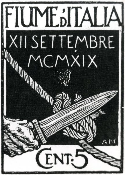 A new postage stamp design for Fiume (now Rijeka, Croatia) when under Italian occupation, soon after the First World War. The design shows a short sword cutting a Gordian knot, and the value is 5 cents. Date: 12 September 1919
