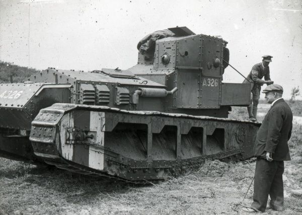 A new tank design undergoing inspection and testing during the First World War
