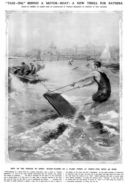 Taxi-ing behind a motor boat: a new thrill for bathers. Water planing on a plank towed at 35 mph. Date: 1913