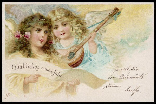 Two angels sing New Year wishes to you in German
