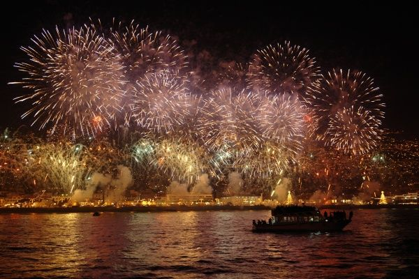 An impressive firework display at Funchal harbour, Madeira, celebrating the arrival of the New Year