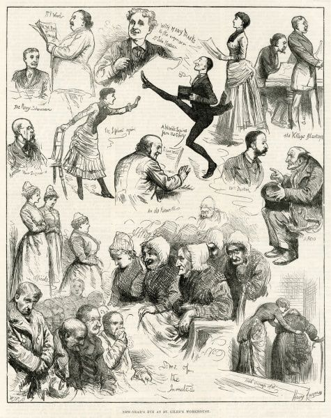 Sketches from New Year's Eve at St. Giles Workhouse where it was customary to provide entertainment to the inmates and a few visitors on the first night of the New Year