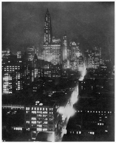 Lower New York at night, taken looking down town from Walker Street