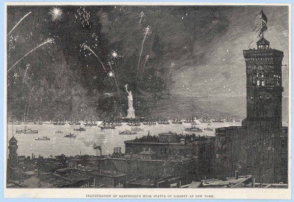 New York: inauguration of Bartholdi's Statue of Liberty in 1886, with a firework display